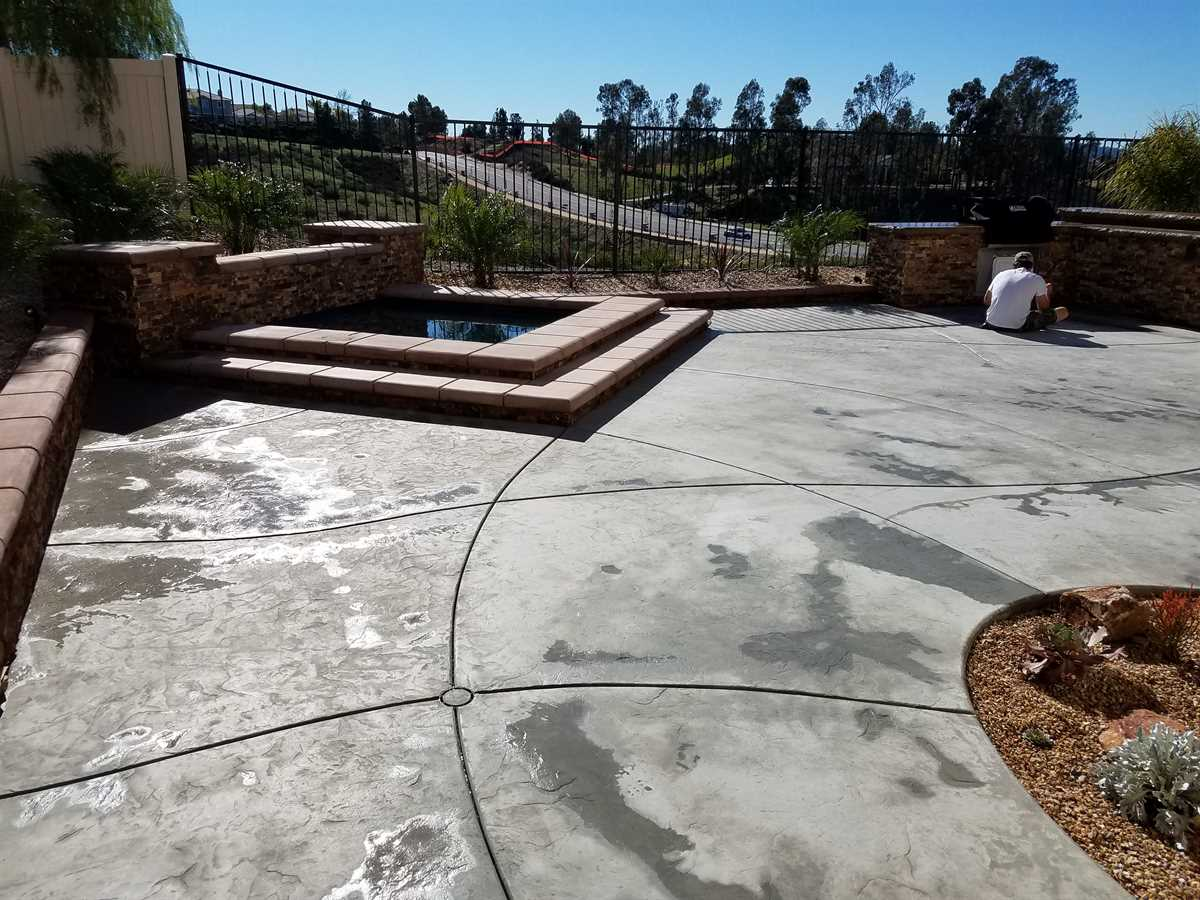 stained concrete patio before