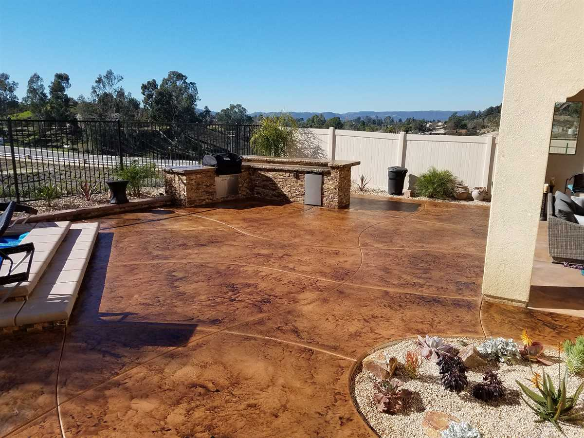 stained concrete patio after